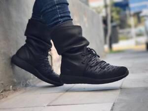Nike Roshe Two Hi Flyknit Women s 861708-001 Black Gray Sneakerboot ... 952a79fe080a