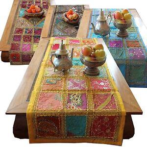 Tischlaeufer-Indien-Patchwork-Tischdecke-Orient-Wandbehang-Laeufer-Rajasthan-Q