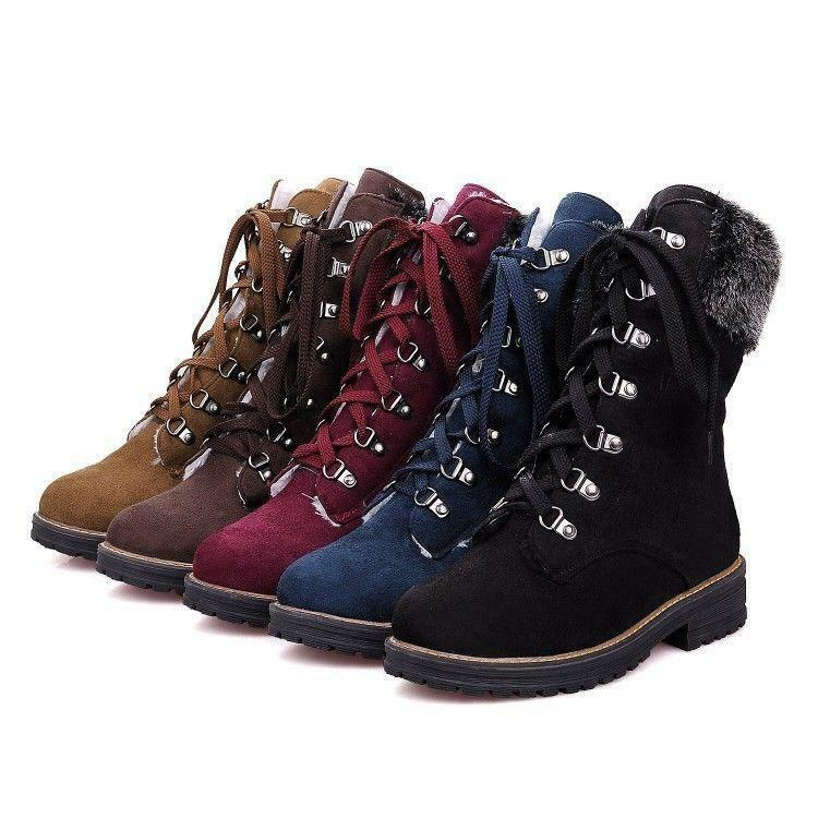 Womens Fashion Winter Fur Trim Lace Up Chunky Low Heel Military Ankle Boots MG