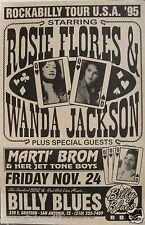 "ROSIE FLORES / WANDA JACKSON / MARTI BROM ""ROCKABILIA TOUR 1995"" CONCERT POSTER"