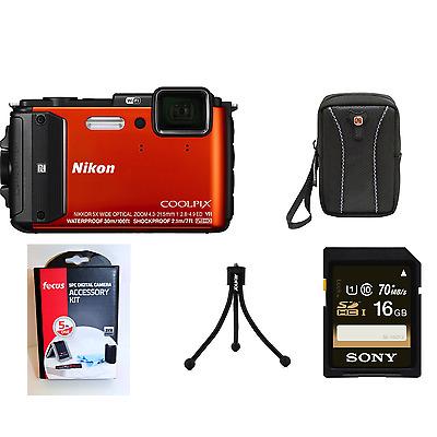 Nikon COOLPIX AW130 Waterproof Digital Camera (Orange) Bundle