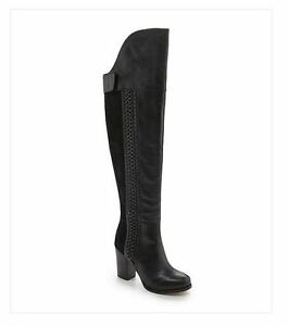 Details about Dolce Vita DV Myer Black Leather Suede OTK Over the Knee Heel Boots 6