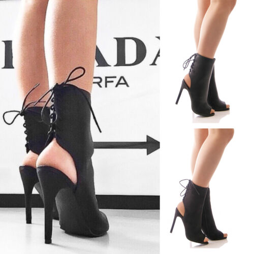 LADIES WOMENS LACE UP HIGH HEEL SHOES CUT OUT BLACK SANDALS PARTY FASHION SIZE