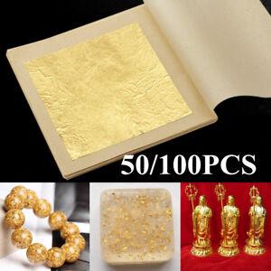 100Pcs 24 Karat Edible Gold Foil Leaf Cooking Food Art Work Gilding 4.33X4.33cm