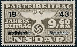 Stamp Germany Revenue Holland WWII 1943 3rd Reich War Era Party Due 09.60 MNG