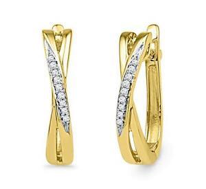 10K-Yellow-Gold-White-Diamond-Hoop-Earrings-Oblong-Twist-Hoops-16-5mm-05ct