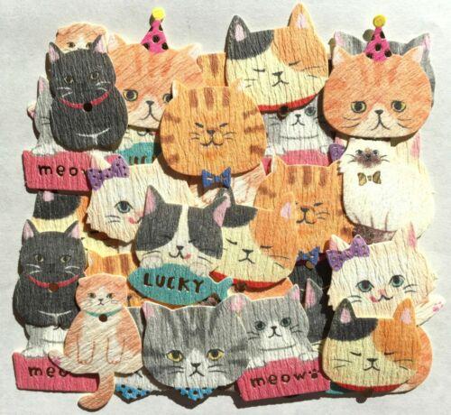 Precioso Gato Animal Washi Adhesivo 40 Gatito Calico Persa Siamés Scrapbook Japón