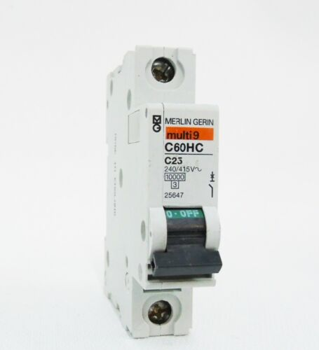 MERLIN GERIN C60HC 25AMP C TYPE C25 SINGLE POLE 1P MCB FUSE SWITCH UNIT 25647