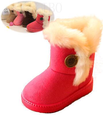 Children Boys Girls Fur Lined Snow Boots Kids Winer Warm Thicken Antiskid Shoes