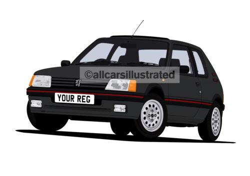 PERSONALISE IT! PEUGEOT 205 GTi 1.6 GRAPHIC CAR ART PRINT SIZE A3