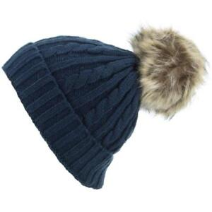 241a26244b9 Cable Knit Knitted Beanie Pom Pom Hat with Faux Fur Bobble 4 colours ...