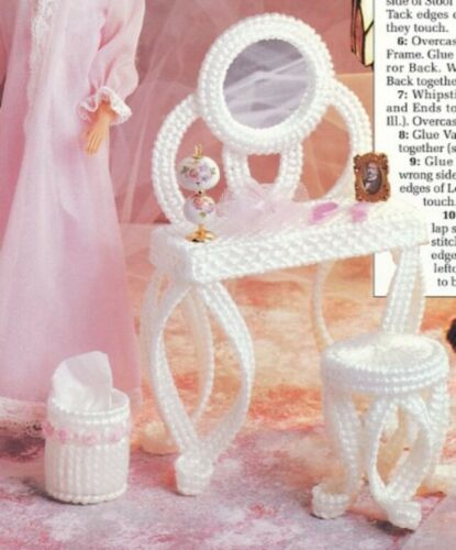 Vanity Set for Barbie Doll Annie/'s Plastic Canvas PATTERN//INSTRUCTIONS//NEW