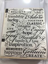 Stampin Up TRES CHIC Rubber Background Stamp Word Collage Hope Love Believe Joy