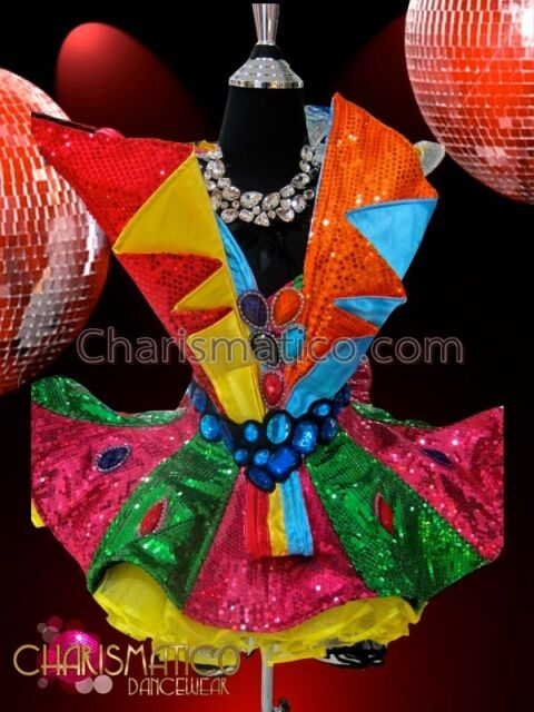 Bejeweled rainbow sequined Candy style Dollie dress with Yellow organza skirt