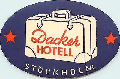 Dacker Hotel ~STOCKHOLM SWEDEN~ Great Old Deco Luggage Label