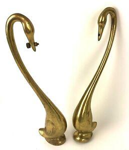 Lot of 2 Vtg Brass Swans Shabby Wedding Decor MCM Metalware Decco Love Birds
