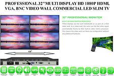"""PROFESSIONAL 32""""MULTI DISPLAY HD 1080P HDMI,VGA,BNC VIDEO WALL LED SLIM TV"""