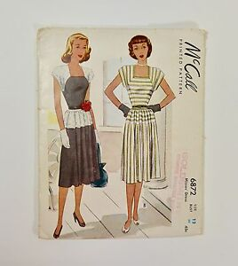 Vintage-50s-McCall-Sewing-Pattern-Party-Day-Dress-Full-Swingy-Skirt-Square-Neck