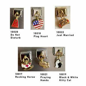 Stainless-Steel-9MM-Italian-Dangle-Charms-Praying-Hands-Cat-USA-Heart-More-U-PIK
