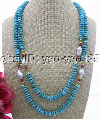 S031201 20mm Pearl&10mm Turquoise&Carnelian Necklace