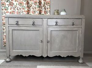 ARTS-amp-CRAFTS-ERA-LONG-LOW-CABINET-SIDEBOARD-country-rustic-antique-vintage-grey
