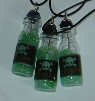 Mini Poison Potion Bottle Vial Necklace Glow In The Dark Handmade Goth Skull 1