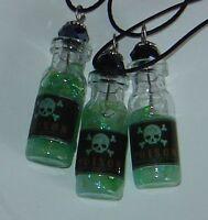 Mini Poison Potion Bottle Vial Necklace Glow In The Dark Handmade Goth Skull 1