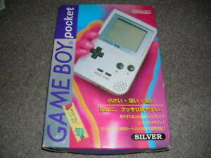 Nintendo-Game-Boy-Pocket-Silver-1st-Print-COMPLETE-BOX-Great-from-JP-Free-Ship