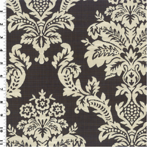 Details about Brown/Beige Woven Damask Ogee Home Decorating Fabric, Fabric  By The Yard