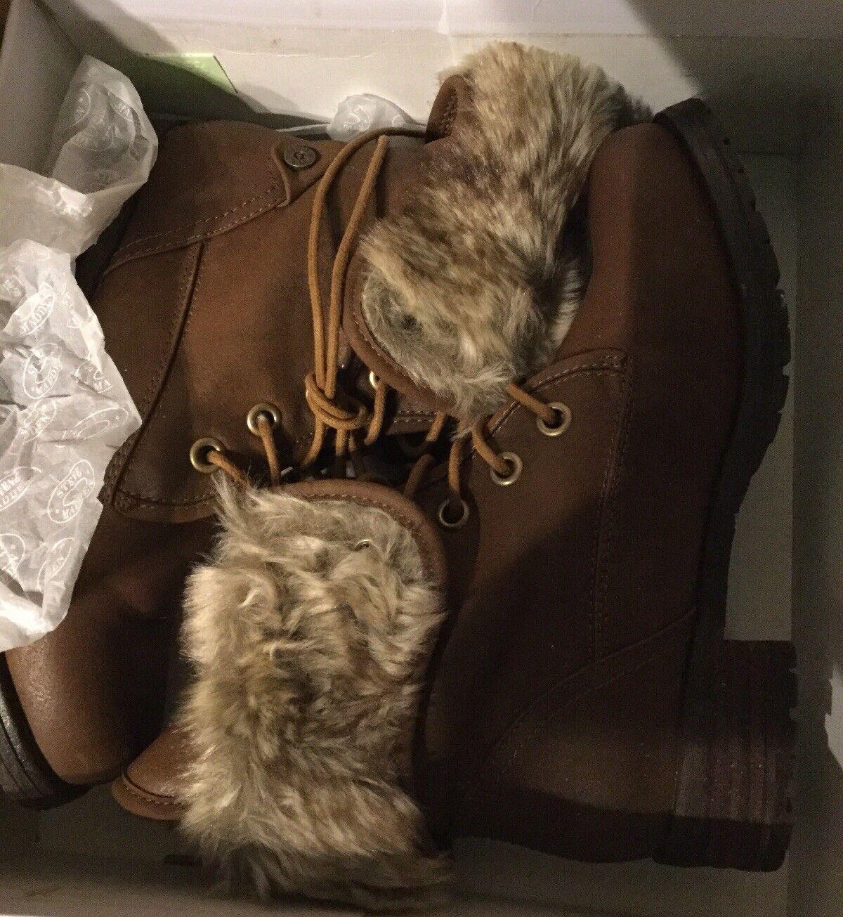 Steve Madden Combat  Mocha leather  Faux Fur Boots BNIB size 8 or 9 MSRP $159