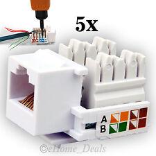 5 x Lot RJ45 Cat5e Ethernet LAN Keystone Cable Wall Jack Clip Module Socket Plug