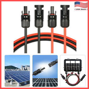 1-Pair-Black-Red-Solar-Panel-Extension-Cable-Wire-MC4-Connector-10-AWG-12-AWG