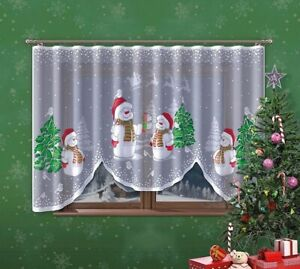 CHRISTMAS PAINTED BAUBLES WINDOWS SEASONAL DECORATION NET CURTAIN 300cmx160cm