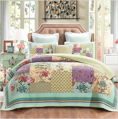 French Country Vintage Inspired Patchwork Bed Quilt COSMIC FLORAL New Coverlet
