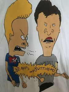 MINT-USA-RARE-vtg-1990-039-s-MTV-BEAVIS-and-BUTTHEAD-White-TNT-T-Shirt-M-38-NEW