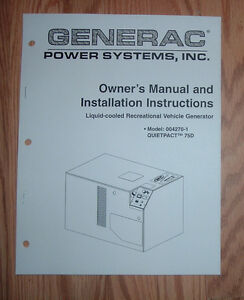 Details about GENERAC QUIETPACT RV MODEL 002701-0 GENERATOR OWNERS/ PARTS  LIST MANUAL