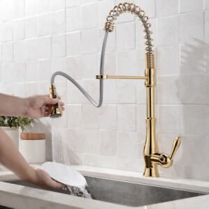 Details about Modern Spring Pull Out Spout Gold Kitchen Sink Faucet Tap  with 3-Function Spray