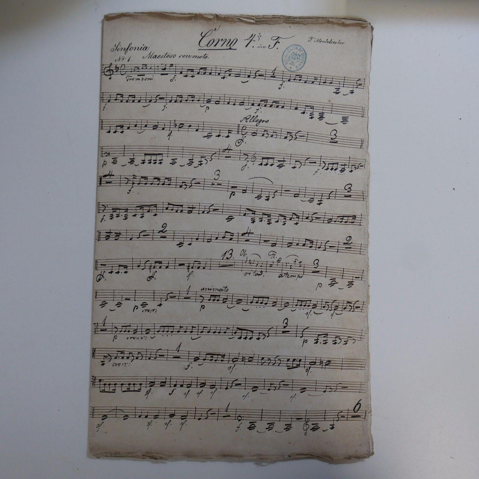 Very early handwritten horn 4 part MENDELSSOHN LOBGESANG