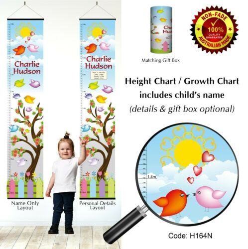 Wall Hanging Child Bedroom Gift Little Spring Birds Height Chart Growth Charts