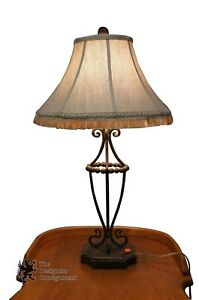 Image Is Loading Contemporary Open Wrought Iron Table Lamp Tasseled Shade