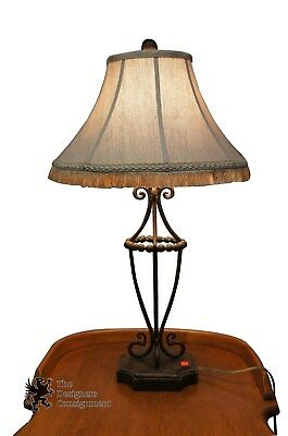 Contemporary Open Wrought Iron Table Lamp Tasseled Shade 31