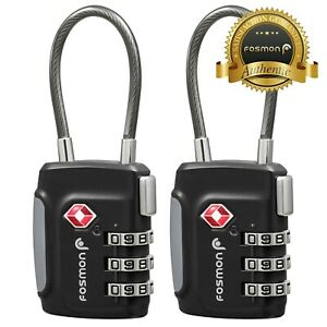 2x TSA Approve Luggage Travel Suitcase Bag Lock [3 Digit Dial] Padlock Reset