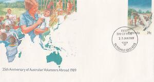 (13967) Australie entiers postaux FDC volontaires à l'étranger 25 janvier 1989-afficher le titre d`origine 15Iw2MiP-07161948-343658021
