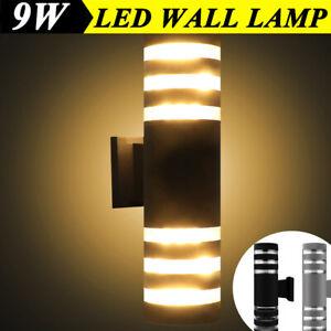 9W Modern LED Wall Light Up Down Lamp Garden Yard Outdoor Outside External Patio