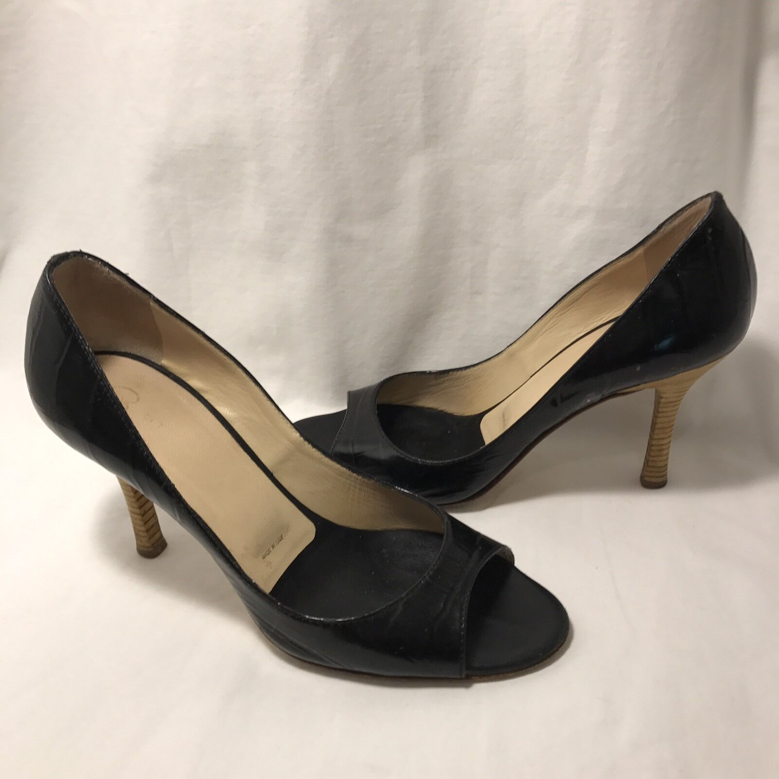 St John Shoes Peep Toe Pumps Size 6.5B Black Leather Italy Stacked Heels