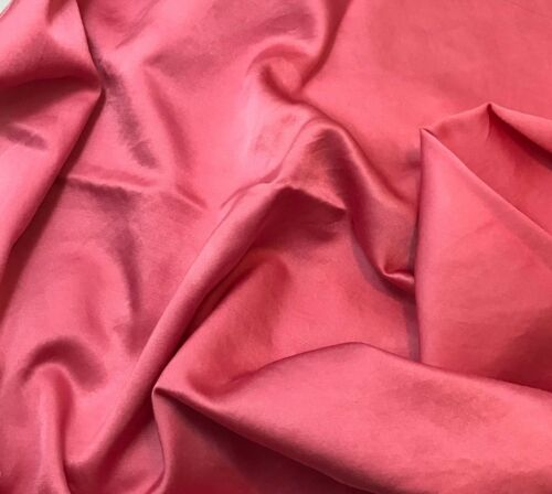 "Hand Dyed BUBBLEGUM PINK Silk//Cotton SATIN Fabric 45/"" by the yard"