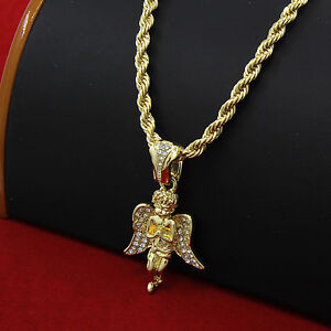 Mens 14k gold plated hip hop prayer angel pendant 30 rope chain image is loading mens 14k gold plated hip hop prayer angel aloadofball Image collections