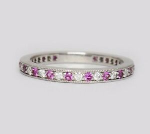 a948b6b21b7c Tiffany   Co Platinum Legacy Pink Sapphire Diamond Shared Band Ring ...