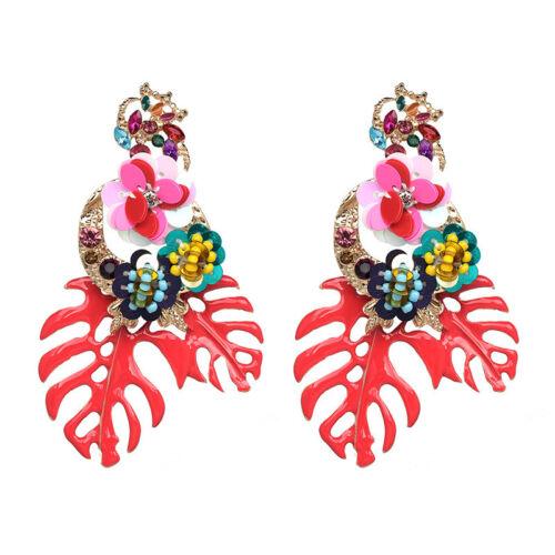 Women/'s Boho Rhinestone Sequin Flower Leaf Ear Stud Crystal Big Drop Earring UK