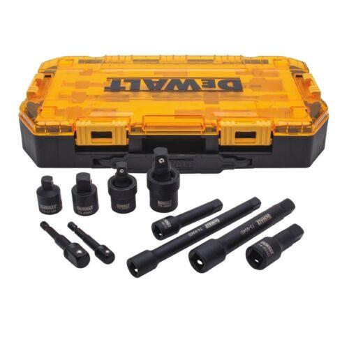 "10-Piece 3//8/"" 1//2/"" Drive DEWALT Impact Socket Ratchet Extender Adapter Set"